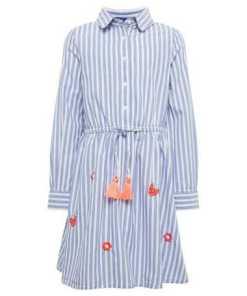 TOM TAILOR A-Linien-Kleid »Gestreiftes Kleid mit Stickereien«