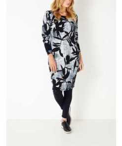 A-Linien-Kleid mit Blätterprint - True Blue