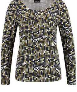 TAIFUN T-Shirt Langarm Rundhals »Longsleeve mit Dots-Print«