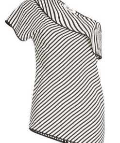 Diane von Furstenberg Gestreiftes One Shoulder Top aus Seide