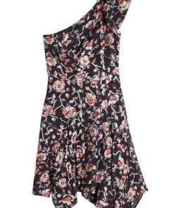 Isabel Marant Bedrucktes One-Shoulder-Kleid mit Seide