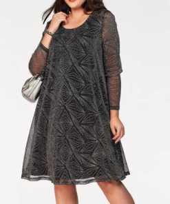 Zizzi A-Linien-Kleid mit silberfarbenem Glanzgarn