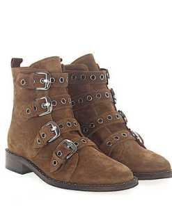 Via Roma 15 Stiefeletten Boots Veloursleder braun Nieten silber