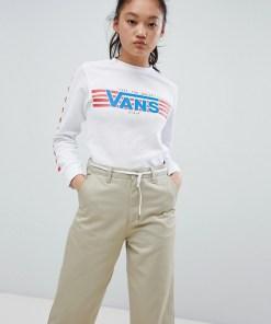 Vans - Finish Line Heritage - Langärmliges T-Shirt in Weiß - Weiß