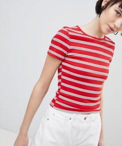 New Look - Geripptes T-Shirt mit Streifen - Rot