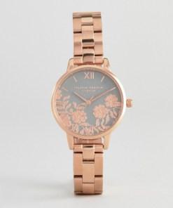Olivia Burton - OB16MV88 - Armbanduhr mit Spitzendetail in Roségold - Gold