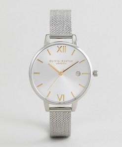 Olivia Burton - OB16DE02 - Silberfarbe Uhr mit Mesh-Bouclé-Armband und Datumsanzeige - Silber