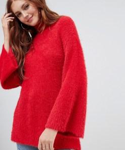 New Look - Flauschiger Pullover mit weiten Ärmeln - Rot
