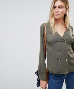 New Look - Doppelreihige Bluse in Khaki - Grün