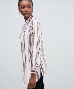 New Look - Bluse mit gestreiftem Kragen - Weiß