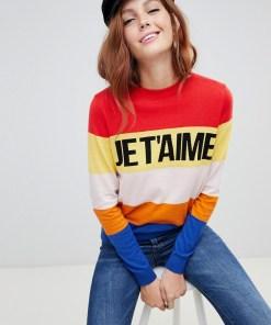 "New Look - Pullover mit ""Je T'aime""-Schriftzug - Mehrfarbig"