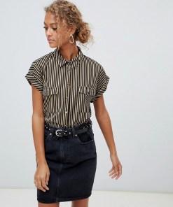 New Look - Robustes Hemd mit Streifen in Schwarz-Weiß - Schwarz