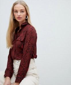 New Look - Gemustertes Hemd in Rot mit aufgesetzter Tasche - Rot