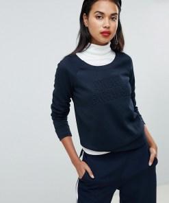 Armani Exchange - Sweatshirt mit Logo und Prägung - Navy