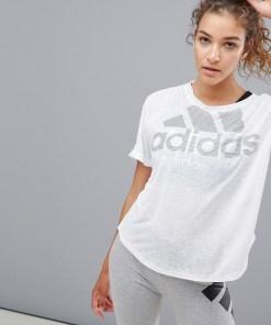 adidas - Training - Weißes T-Shirt mit Logo - Weiß