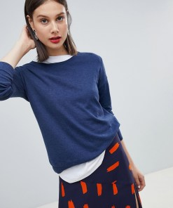 Esprit - Leichter Oversize-Pullover mit Rundhalsausschnitt - Navy