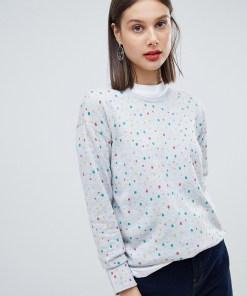 Esprit - Mit Punkten bedruckter Pullover - Grau