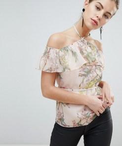 Morgan - Schulterfreies Rüschen-Top mit Blütenmuster - Mehrfarbig