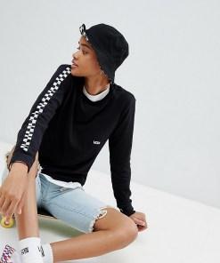 Vans - Langärmliges Shirt in Schwarz mit Schachbrettmuster an den Ärmeln - Schwarz