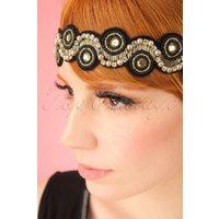20s Eliza Embellished Headband in Black and Gold