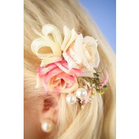 50s Flower and Pearl Hair Clip in Cream and Pink