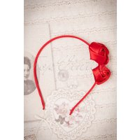 50s Alice Satin Hair Band with Roses in Red