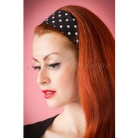 Vintage 50s Retro Hair Scarf in Black with Polka Dots