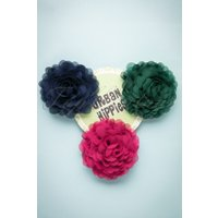 70s Hair Flowers Set in Raspberry