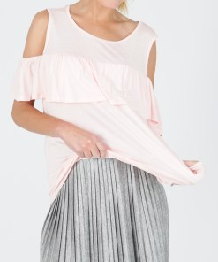 MAVI Top mit Cut-Outs und Volants in rosa
