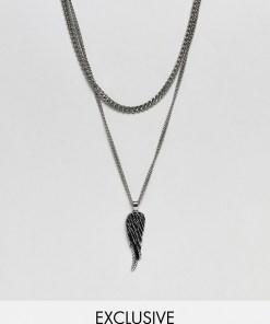 Reclaimed Vintage inspired - Silberfarbene Halskette mit Flügelanhänger aus Edelstahl - EXKLUSIV NUR BEI ASOS - Silber