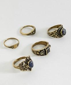 ASOS EDITION - Set verzierte Ringe mit Schmucksteinen aus poliertem Gold - Gold