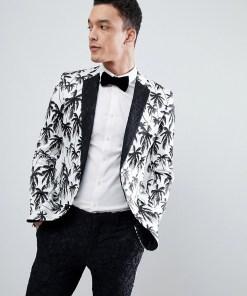 ASOS EDITION - Besonders enge Anzugjacke mit Palmenprint in Schwarz und Weiß und kontrastierendem Revers aus schwarzer Spitze - Schwarz