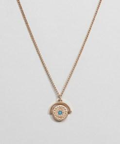 ASOS DESIGN - Goldene Halskette mit drehbarem Anhänger und Schmuckstein - Gold