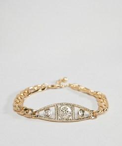 ASOS DESIGN - Goldfarbiges Kettenarmband im Vintage-Stil mit Medaillon - Gold