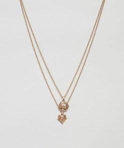 ASOS DESIGN - Mehrreihige; goldfarbene Halsketten mit römischen Münzen im Vintage-Design - Gold