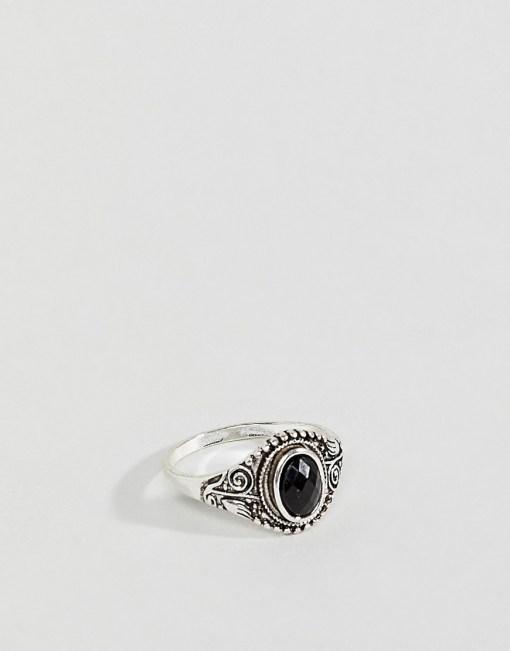 Burton Menswear - Auffälliger Ring mit schwarzem Schmuckstein - Schwarz