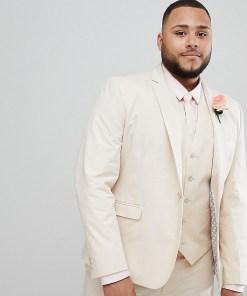ASOS DESIGN Plus Wedding - Enge Anzugjacke aus Baumwolle mit Stretchanteil in Stone - Grau