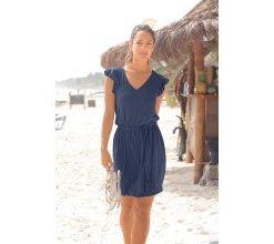 Damen Strandkleid in Wickeloptik, blau, Gr. 34, Lascana, Material: Viskose