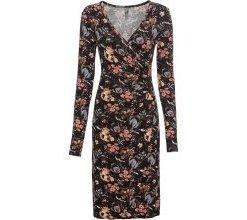 Kleid in Wickeloptik langarm in braun von bonprix