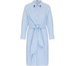 APART Sommerkleid mit Stickerei in Lippenform hellblau / weiß