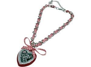Halskette Dirndl Resi mit Herzanhänger Allgäu Rebell rot-weiß