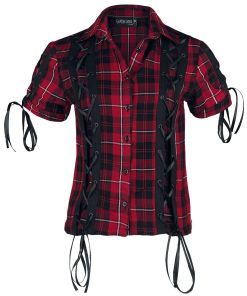 Gothicana by EMP Corded Checked Shirt Girl-Hemd rot