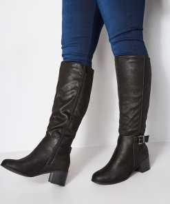 GroBe Größen Schwarze Kneehigh Stiefel mit Absatz, Schnalle & YC