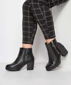 GroBe Größen Schwarze Plattform Ankle Boots mit ReiBverschluss & YC