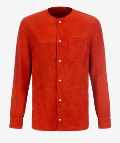 Kragenloses Wildlederhemd Rot