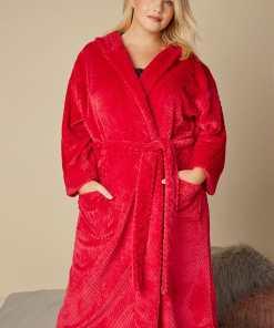 GroBe Größen Roter Fleece Bademantel mit Kapuze YC
