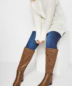 GroBe Größen Braune Kneehigh Stiefel mit Absatz, Schnalle & weiter YC