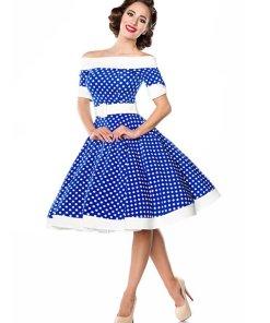 Belsira schulterfreies Swing-Kleid Blau