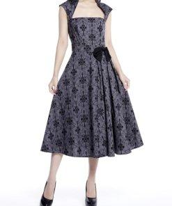 Belted Pleat Dress Grey