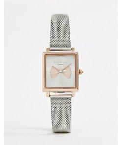Ted Baker - Isabella - Armbanduhr mit Netzband und eckigem Design - Silber